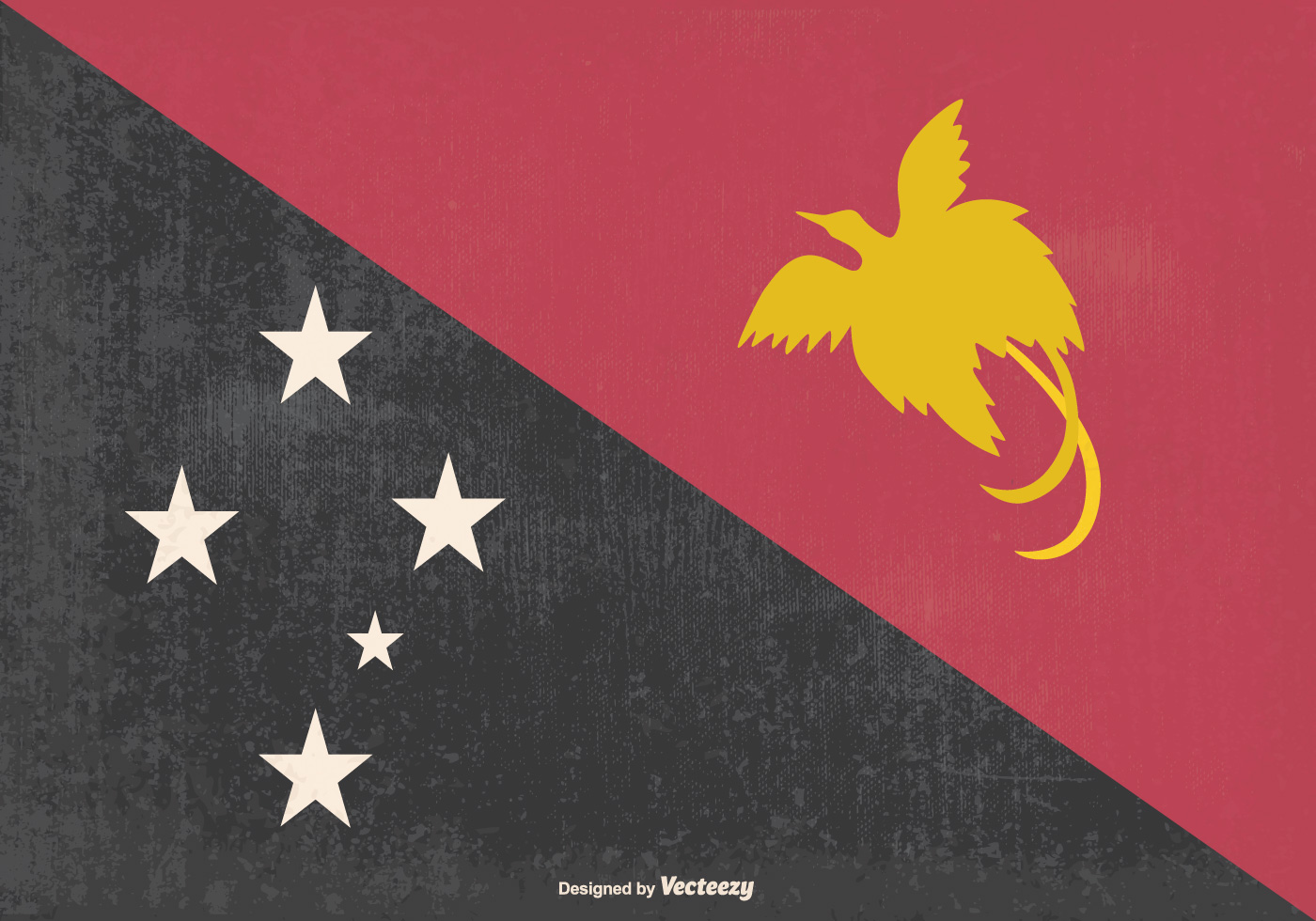 Papua New Guinea Flag Free Vector Art.