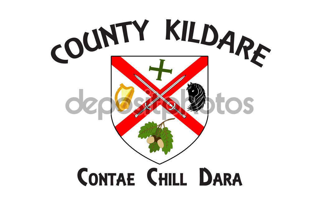 Flag of County Kildare is a county in Ireland — Stock Photo.
