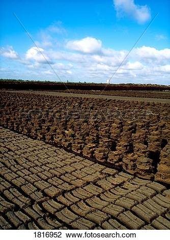 Stock Photo of Industrial turf production, Bog of Allen, Co.