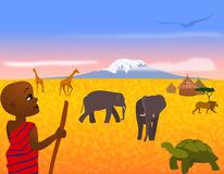 Hikers Mount Kilimanjaro Stock Illustrations.