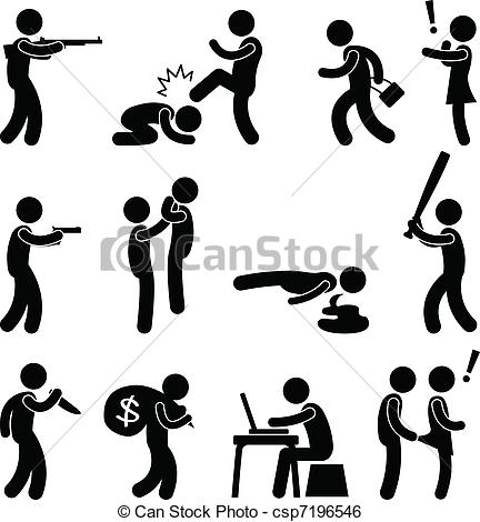 Clip Art Vector of Terrorist Crime Violence Killer.