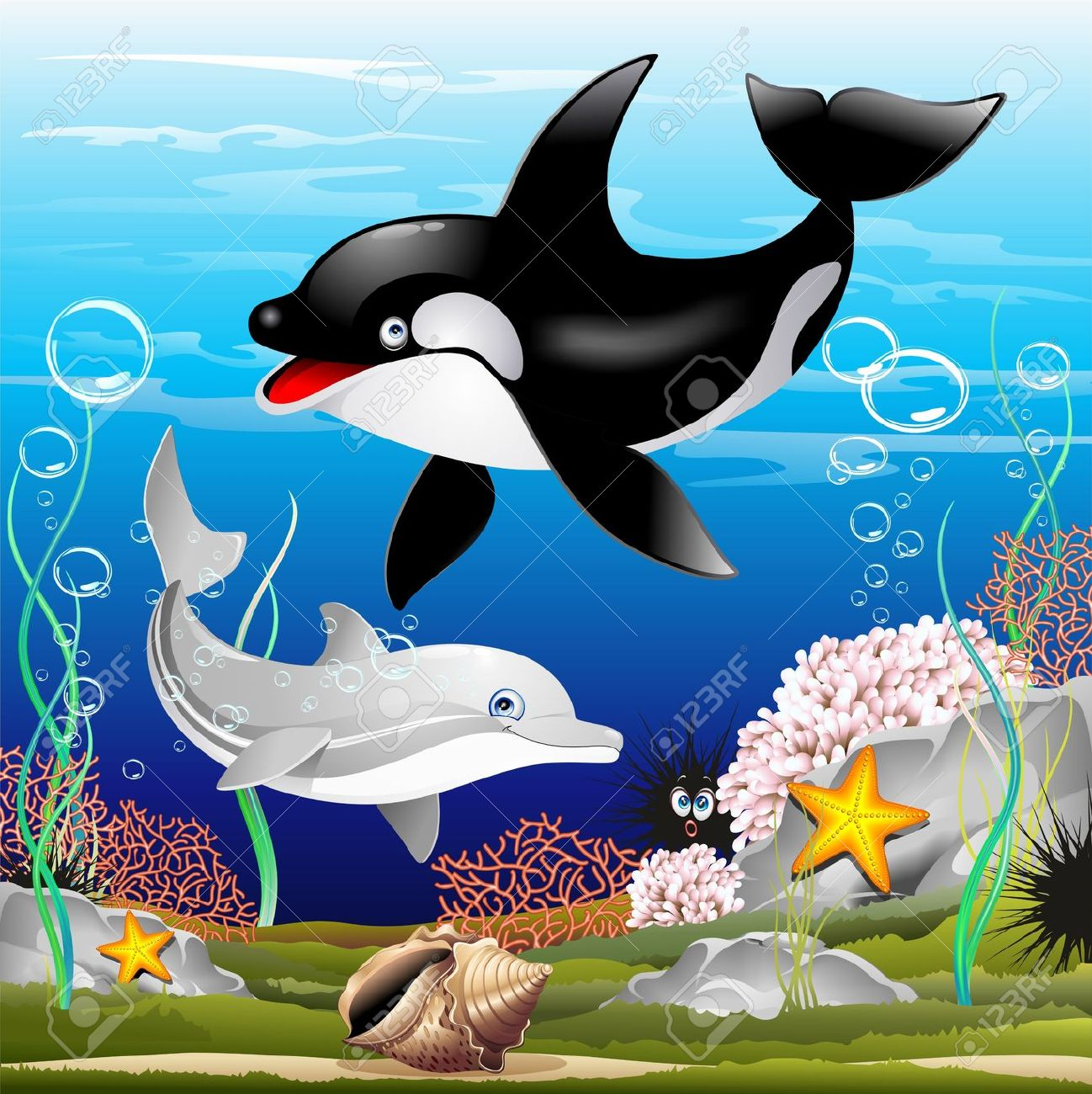 Dolphin And Killer Whale Cartoon On The Ocean Royalty Free.