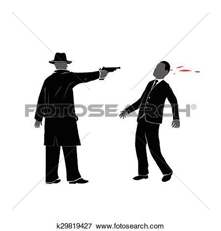 Clip Art of killing with gun k29819427.
