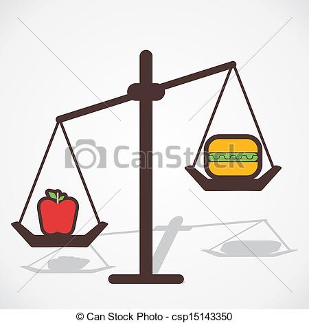 Clipart Vector of comparison healthy and fast food.