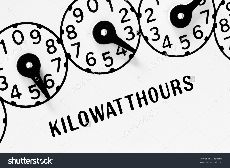 Kilowatt Hour Meter Dials On White Stock Photo 97836392.