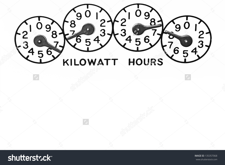 Conventional Mechanical Kilowatt Hour Electric Meter Stock Photo.