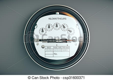 Stock Illustrations of Analog electricity meter showing household.