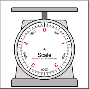 Clip Art: Weights and Measures: Kilogram Blank Scale Color.