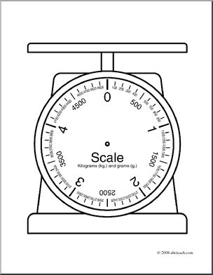 Clip Art: Weights and Measures: Kilogram Blank Scale (coloring.