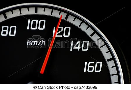 Stock Illustration of Speedometer at 120 km/h csp7483899.