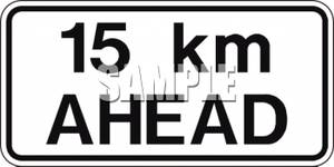 15 Km Ahead Distance Sign.