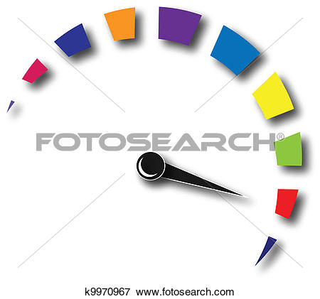 Clip Art of Speed odometer colorful logo k9970967.