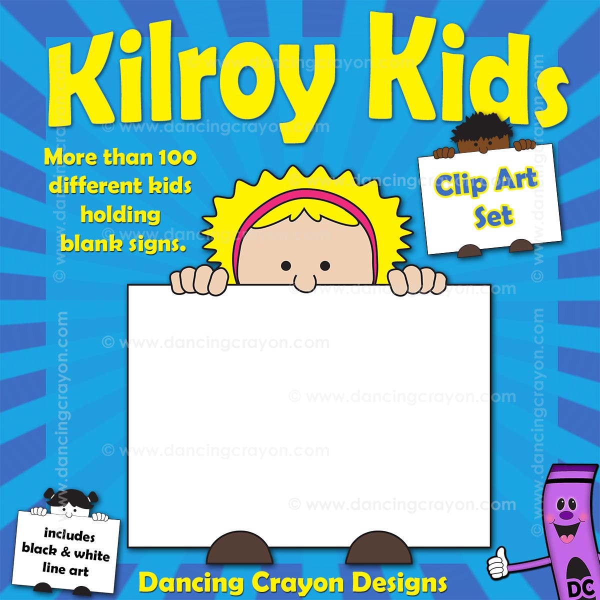 Free clipart: Kilroy style kid holding sign.