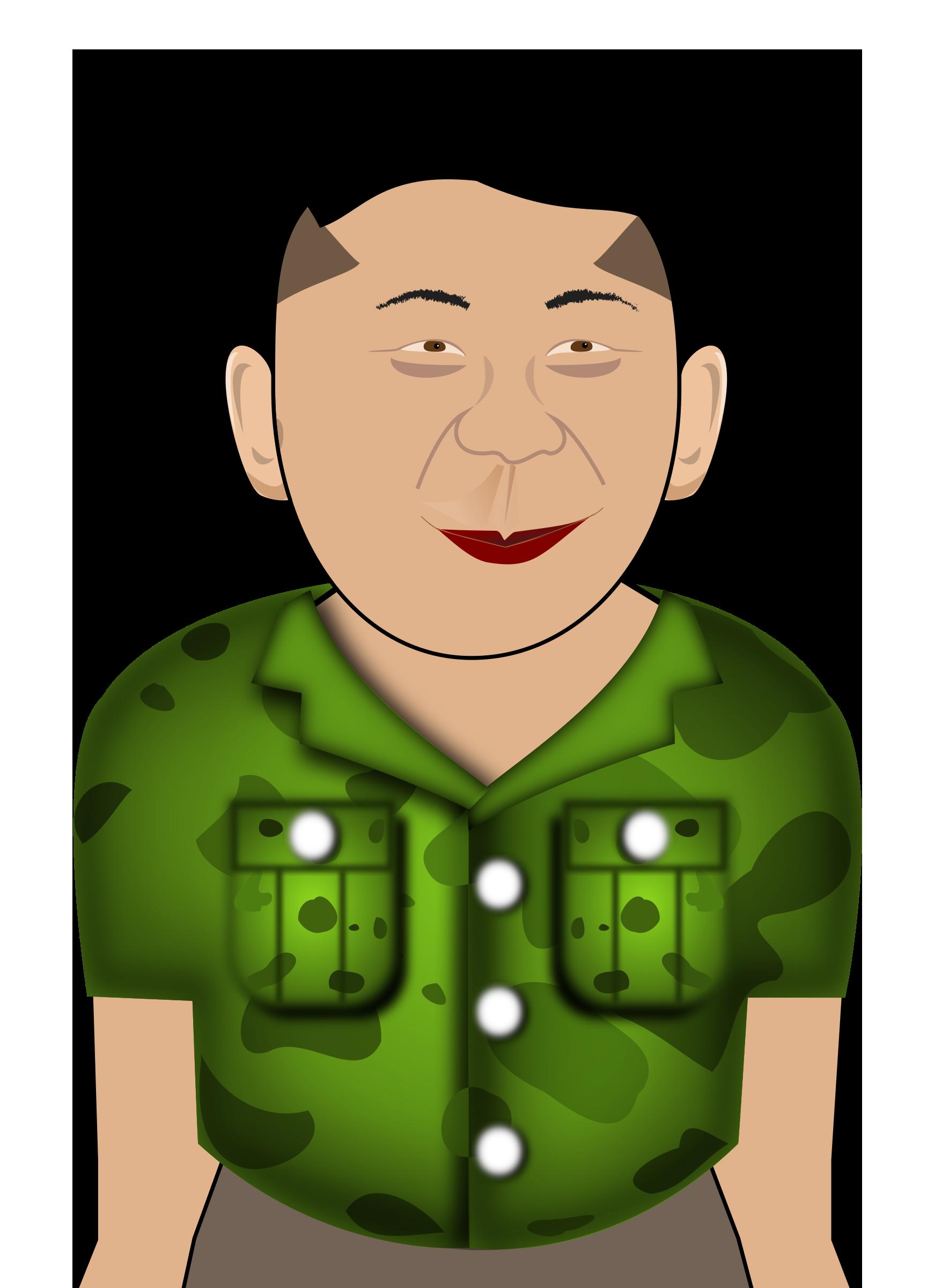 Kim Jong Un in a Green Shirt vector clipart image.