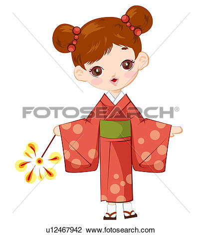 Clip Art of tradition, Japanese, kimono, clothes, lady, japan.