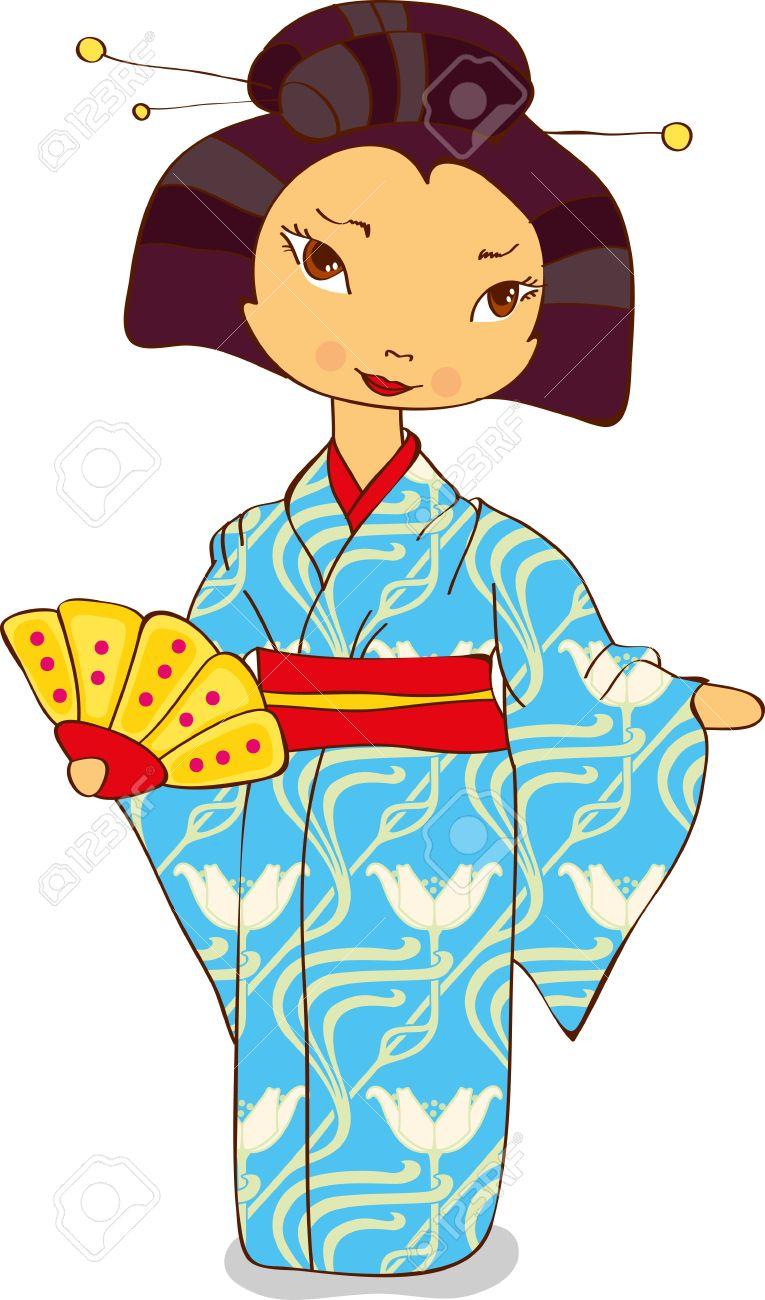Geisha In Kimono Holding A Fan Royalty Free Cliparts, Vectors, And.