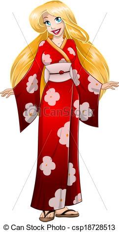 Red Kimono Clipart.