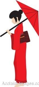 Clip Art Girl in Kimono.