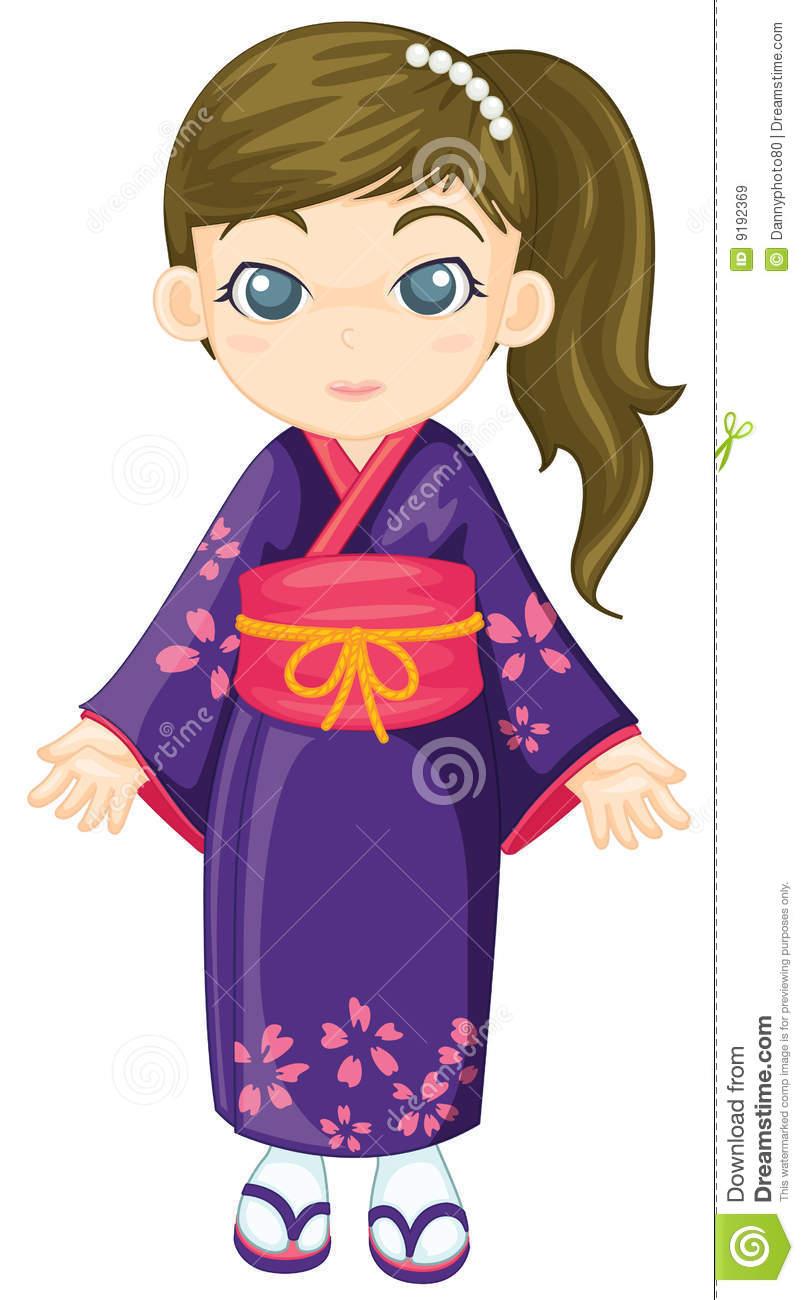 Japanese dress kimono clipart.
