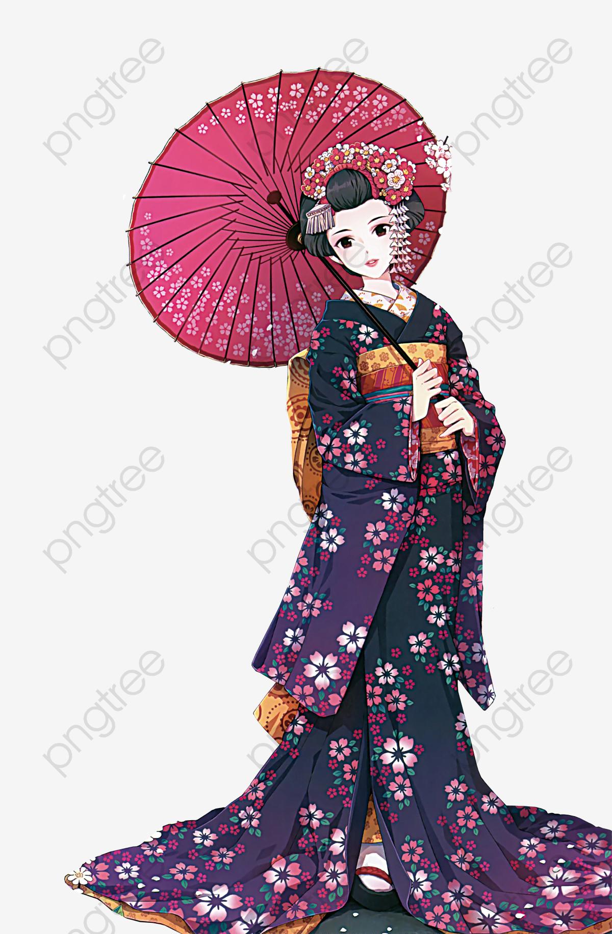 Japanese Kimono Anime Characters, Japanese Anime, Kimono, Girl PNG.