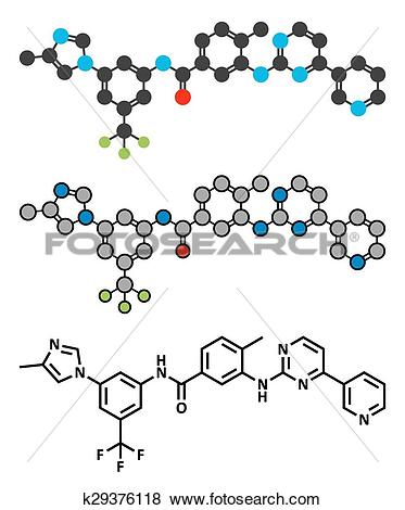 Clip Art of Nilotinib cancer drug molecule (tyrosine kinase.