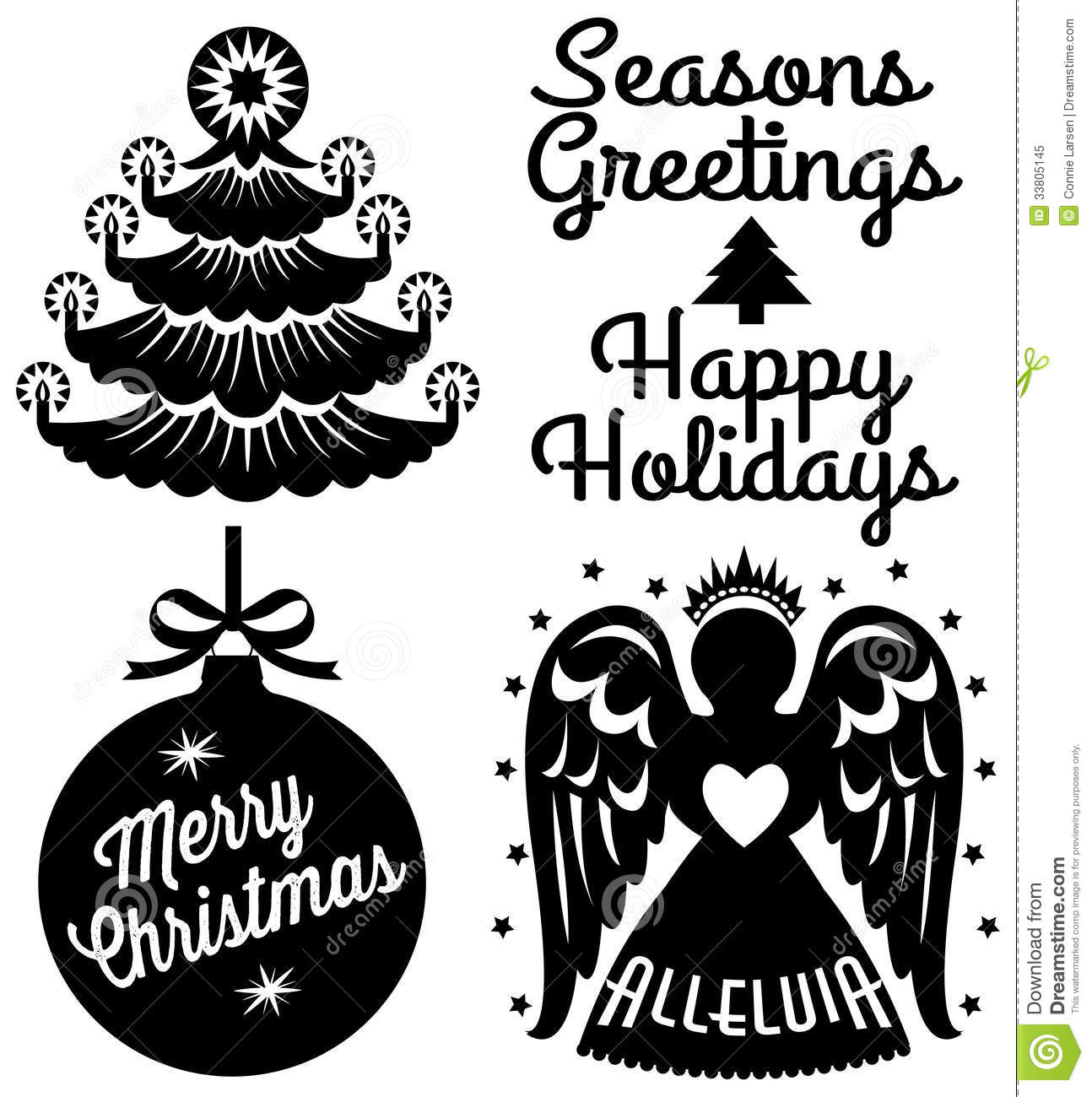 Retro Christmas Clip Art Set Royalty Free Stock Photo.