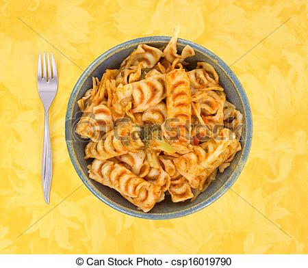 Stock Photographs of Meatless chop suey in bowl with fork on.