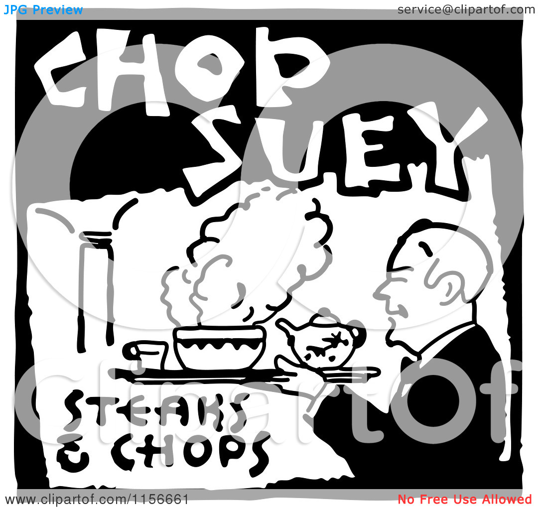 Clipart of a Black and White Retro Chop Suey Steaks and Chops Food.