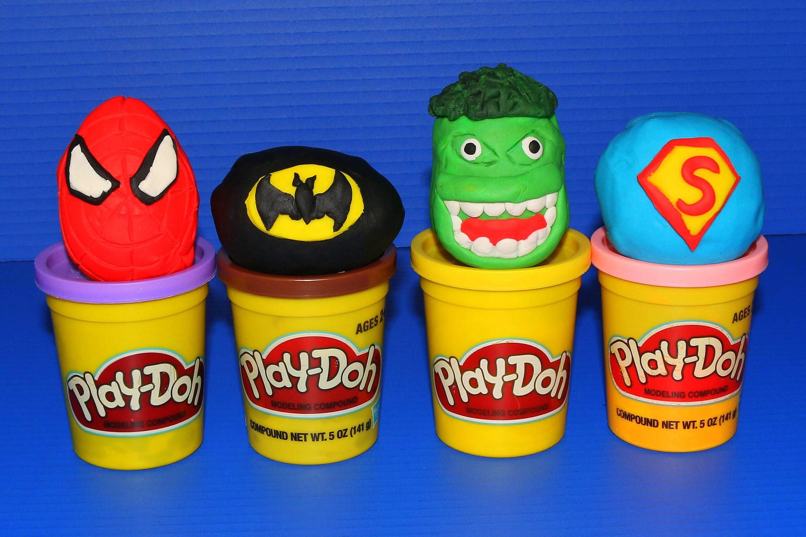 Play Doh Kinder Surprise Eggs Superhero Dough Batman, Hulk.
