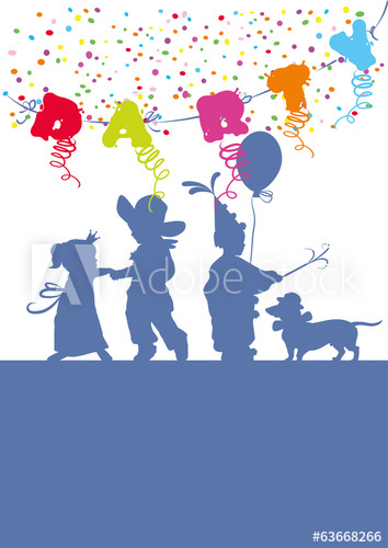 Party,Kinderfest,Kinder,Silhoutte,Konfetti,Girlande.