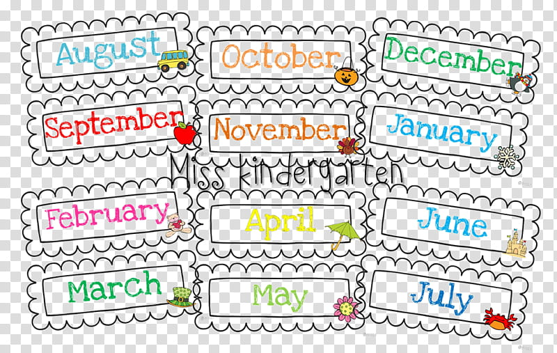Preschool Cartoon, Month, Calendar, Kindergarten, Classroom.