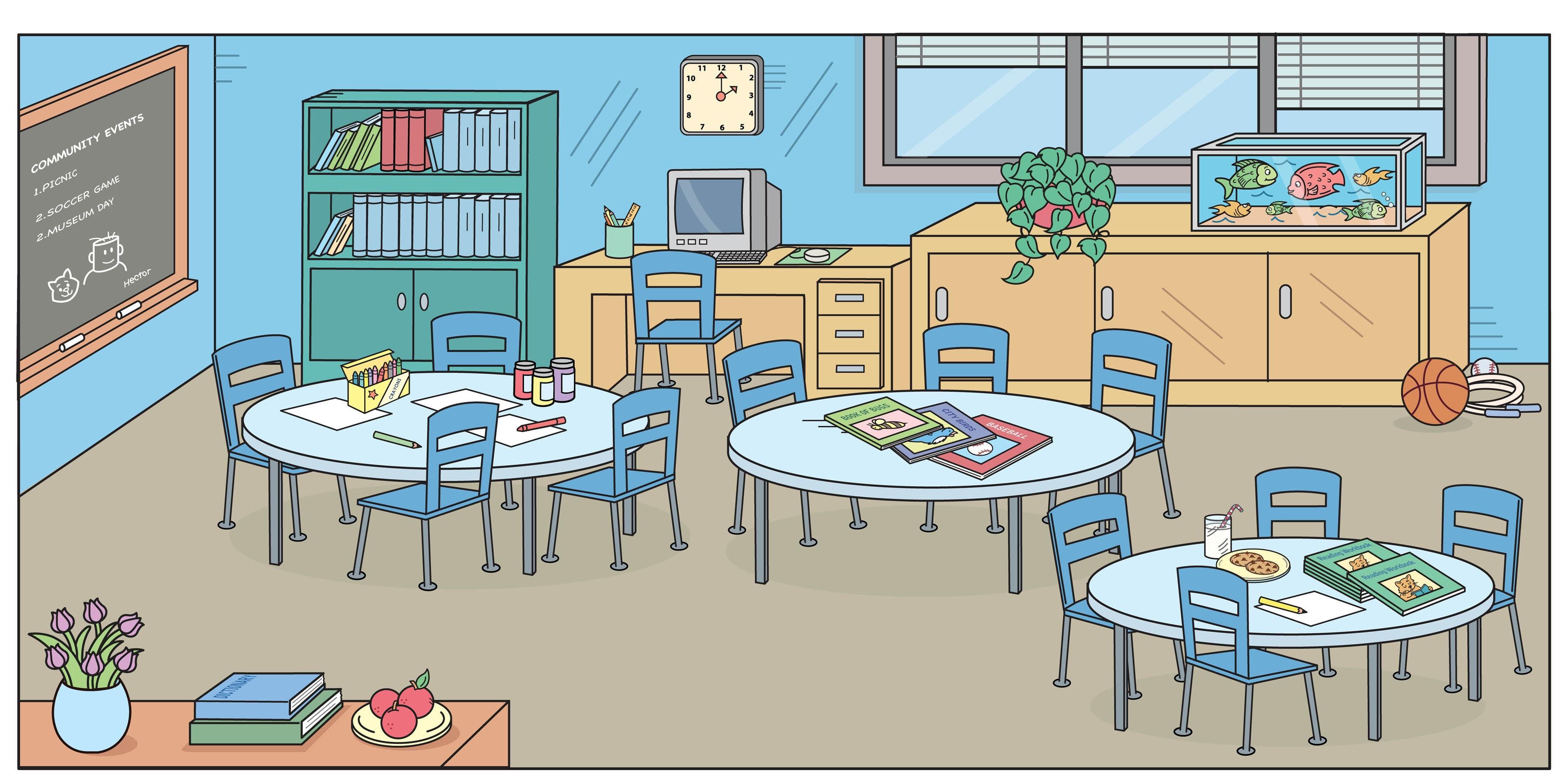 Empty Kindergarten Classroom Clipart.