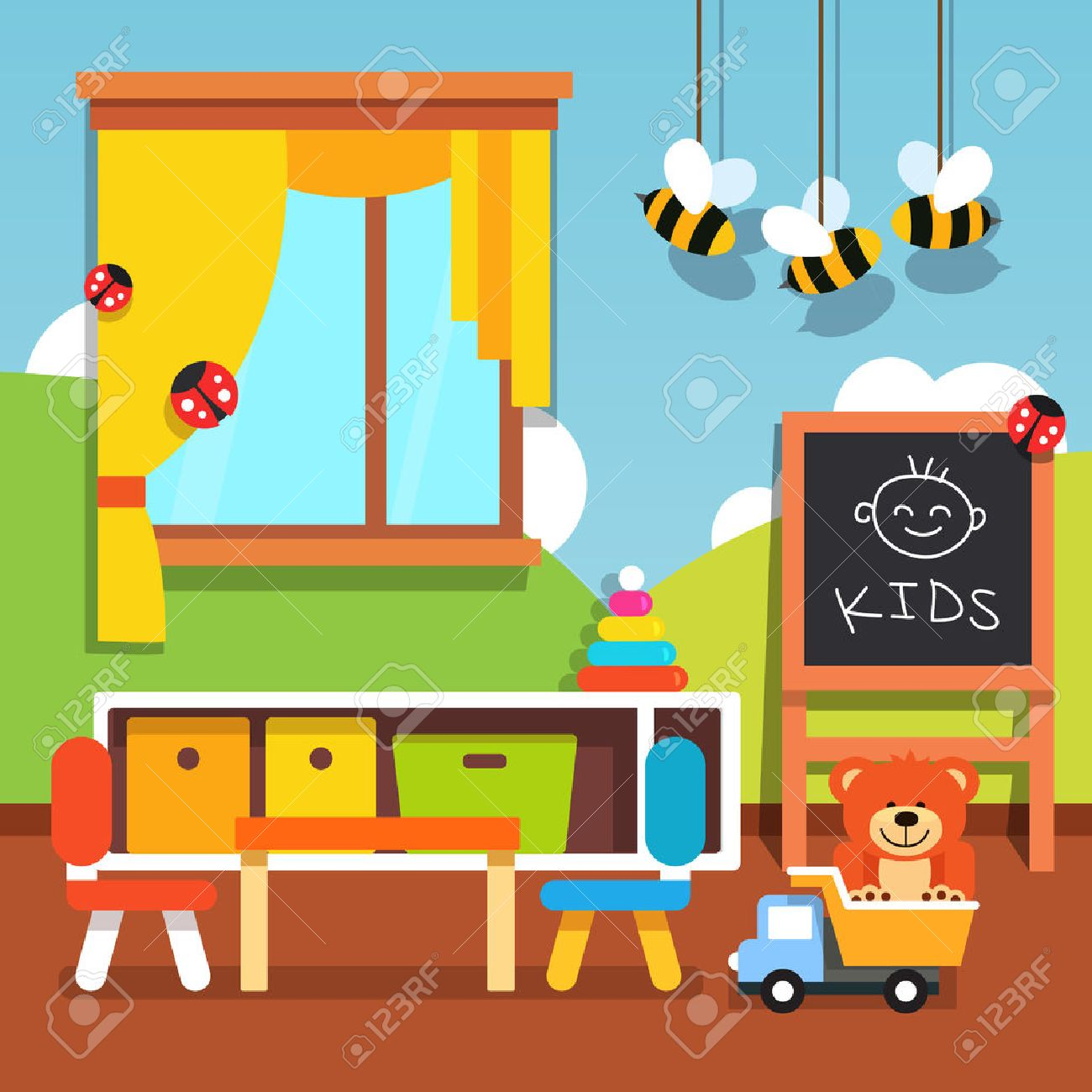 Preschool kindergarten classroom with desk, chairs, chalkboard...