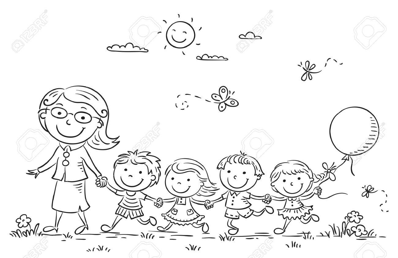 Cartoon kids and their teacher on a walk in the kindergarten,...
