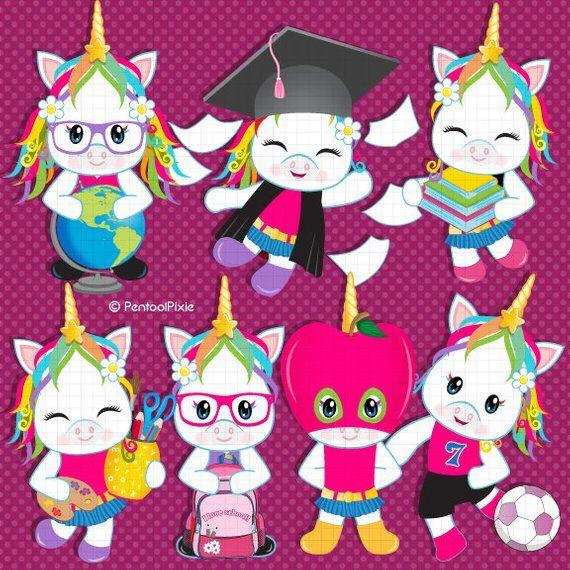 Back to school clipart, Unicorn clipart, School clipart.