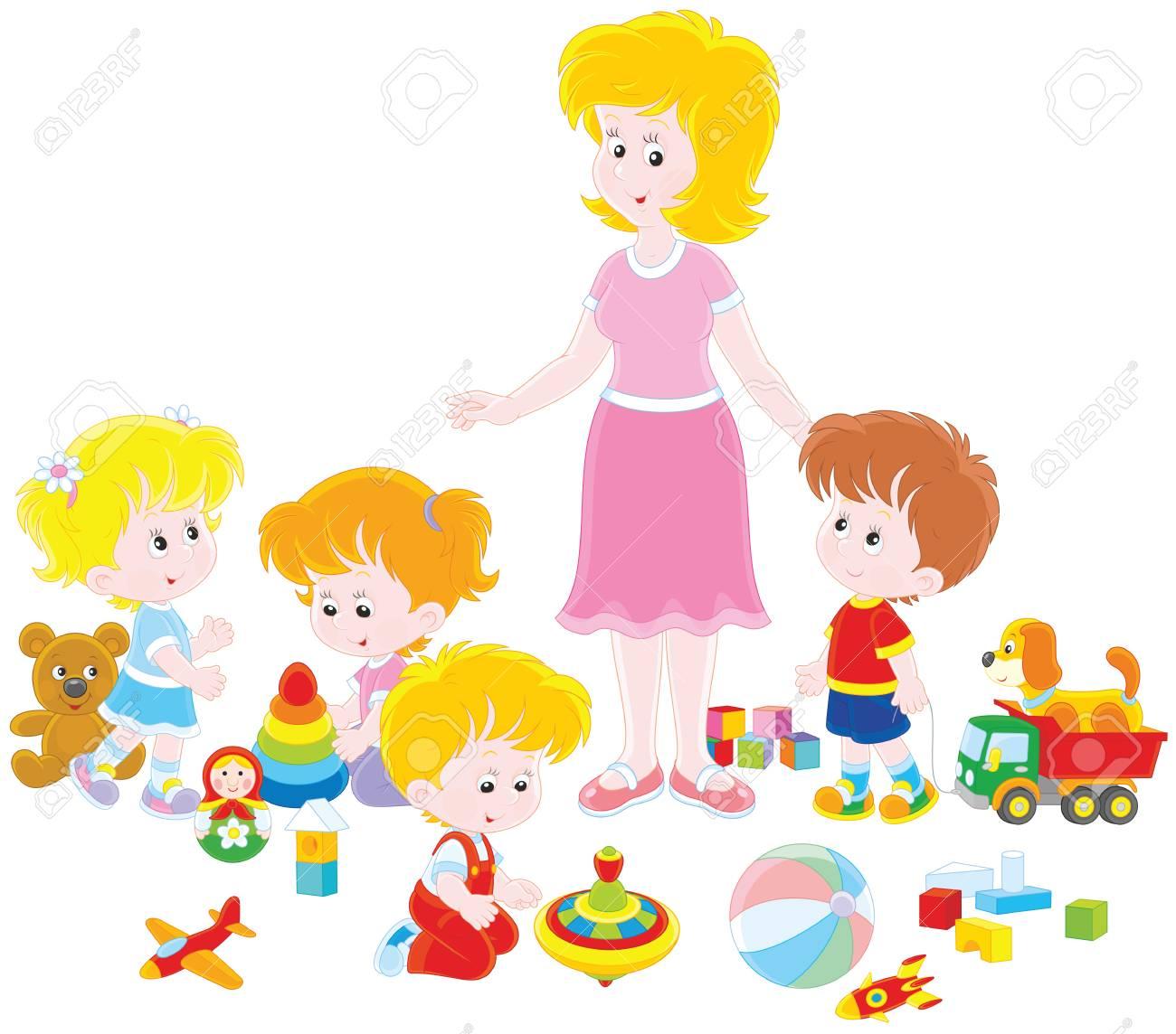 Playing children and kindergarten teacher..