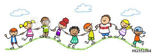 Kinder halten Hände in der Natur.
