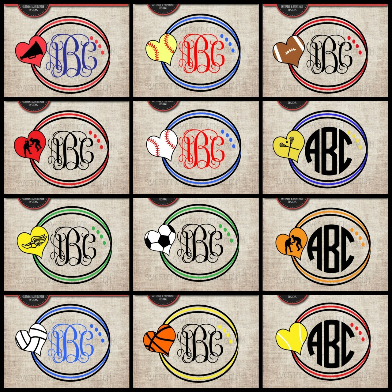 Sports Hearts Circle Monogram Frames Bundle Svg.