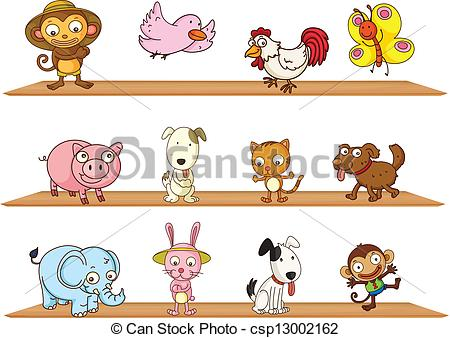 Clip Art Vector of Different kinds of toy animals.