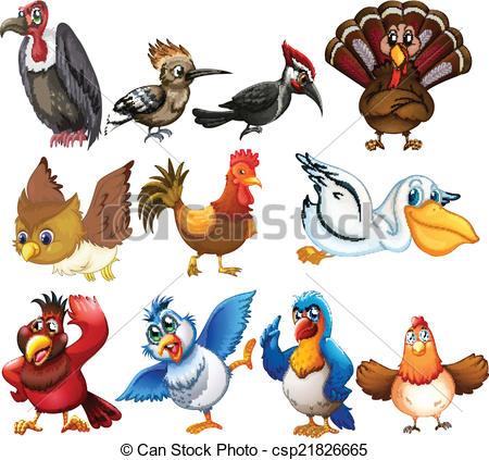 Clip Art Vector of Bird collections.