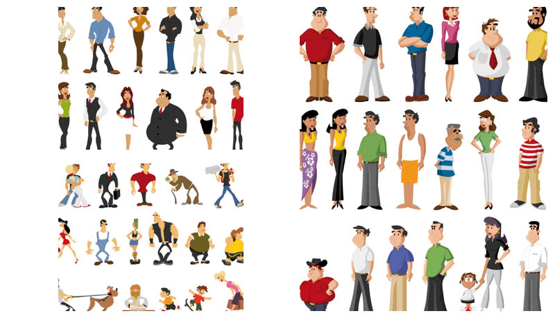 Different kinds of people clipart.
