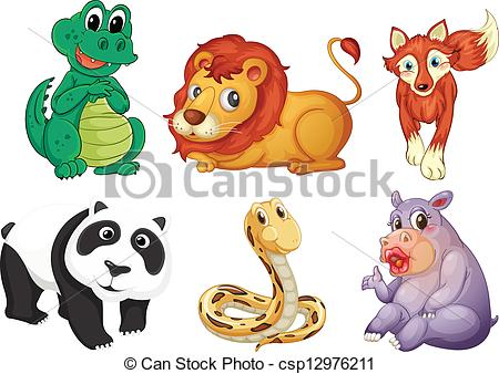 Vector Clip Art of Six different kinds of animals.