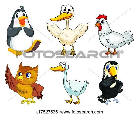 Clipart of Six different kinds of birds k17527535.