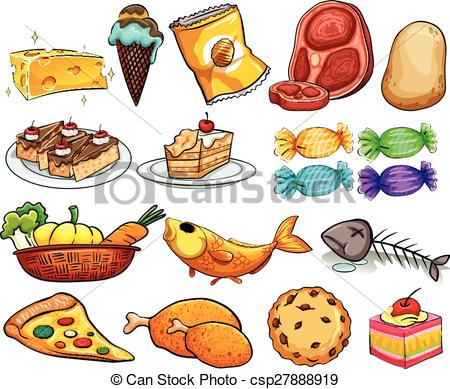 Different kinds of food clipart.