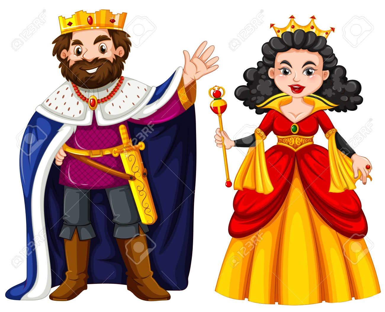 King and queen with happy face illustration.