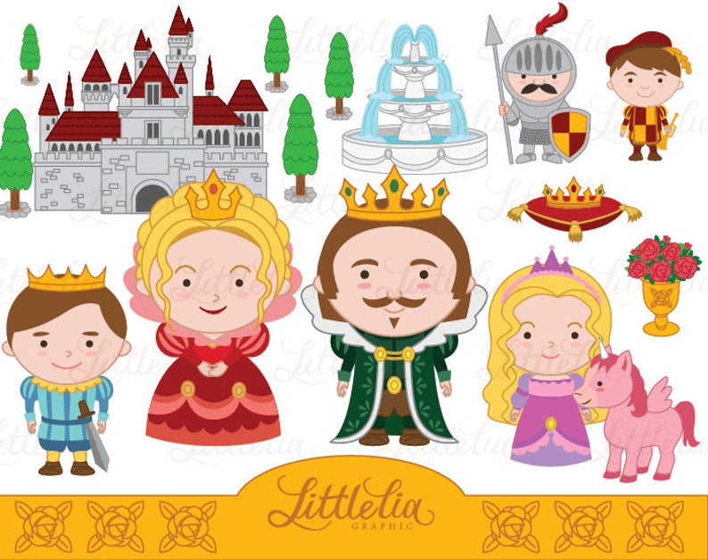 Queen King Princess and Prince clipart.