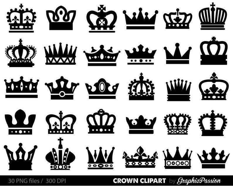 Crown Clipart, King Queen Crown Clip Art, Royal Crown Clipart,crown  clipart, crown silhouette, princess clipart, black crowns,royal clipart.