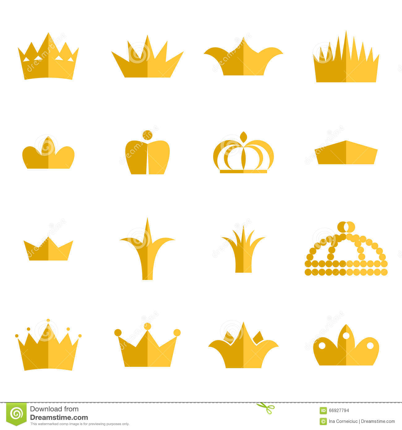 Gold Crown Clip Art Vector Set. Stock Vector.