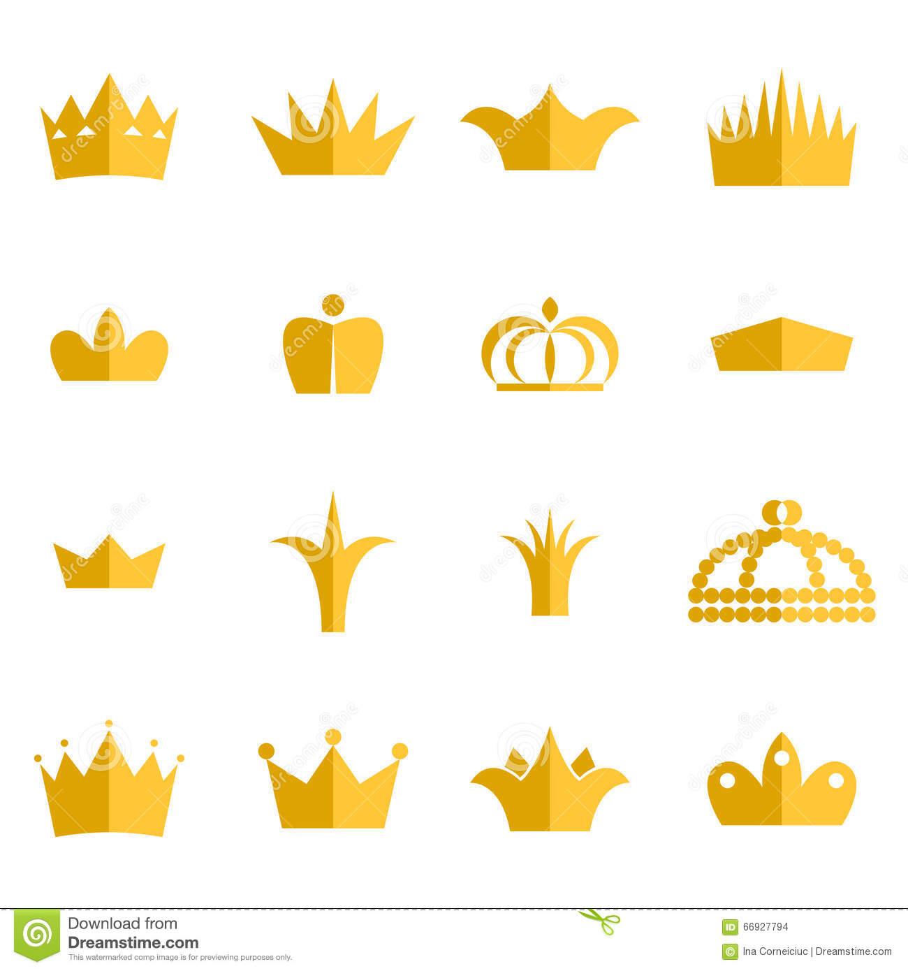 Gold Crown Clip Art Vector Set. Stock Vector.