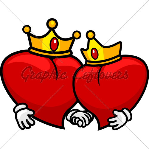 king and queen crowns together clipart #11